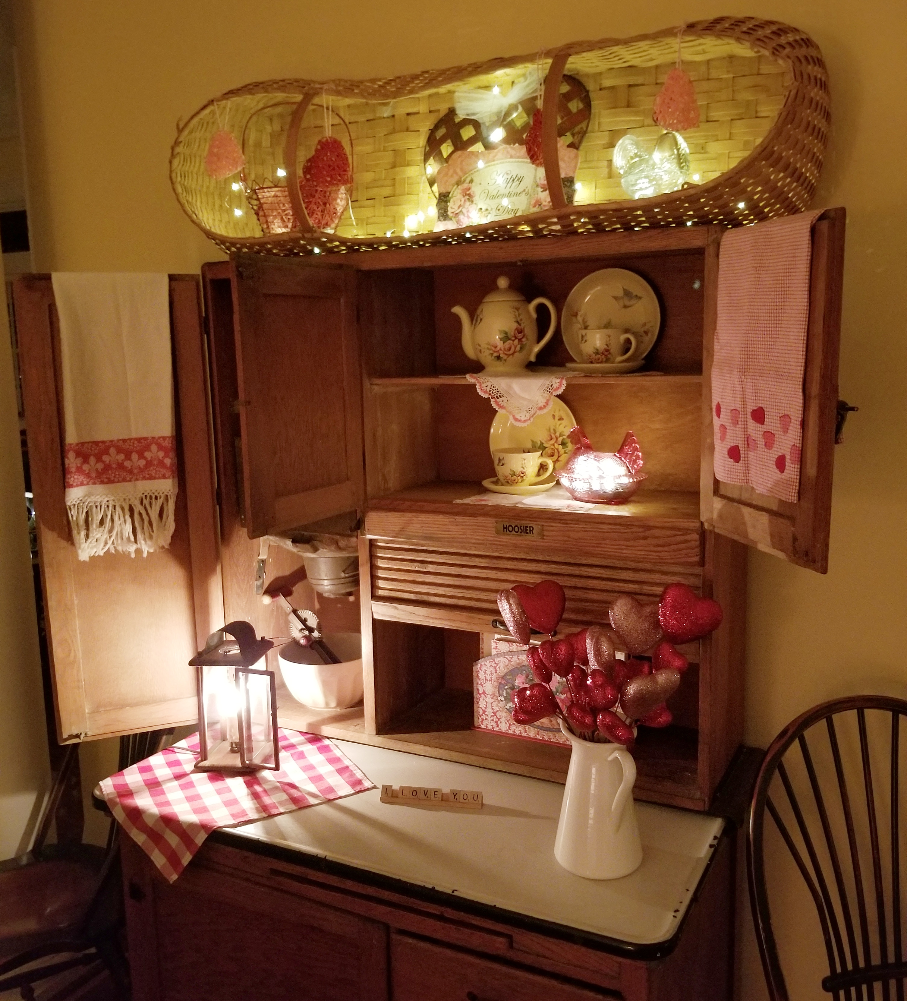 Antique Hoosier Cabinet Decorated for Valentines
