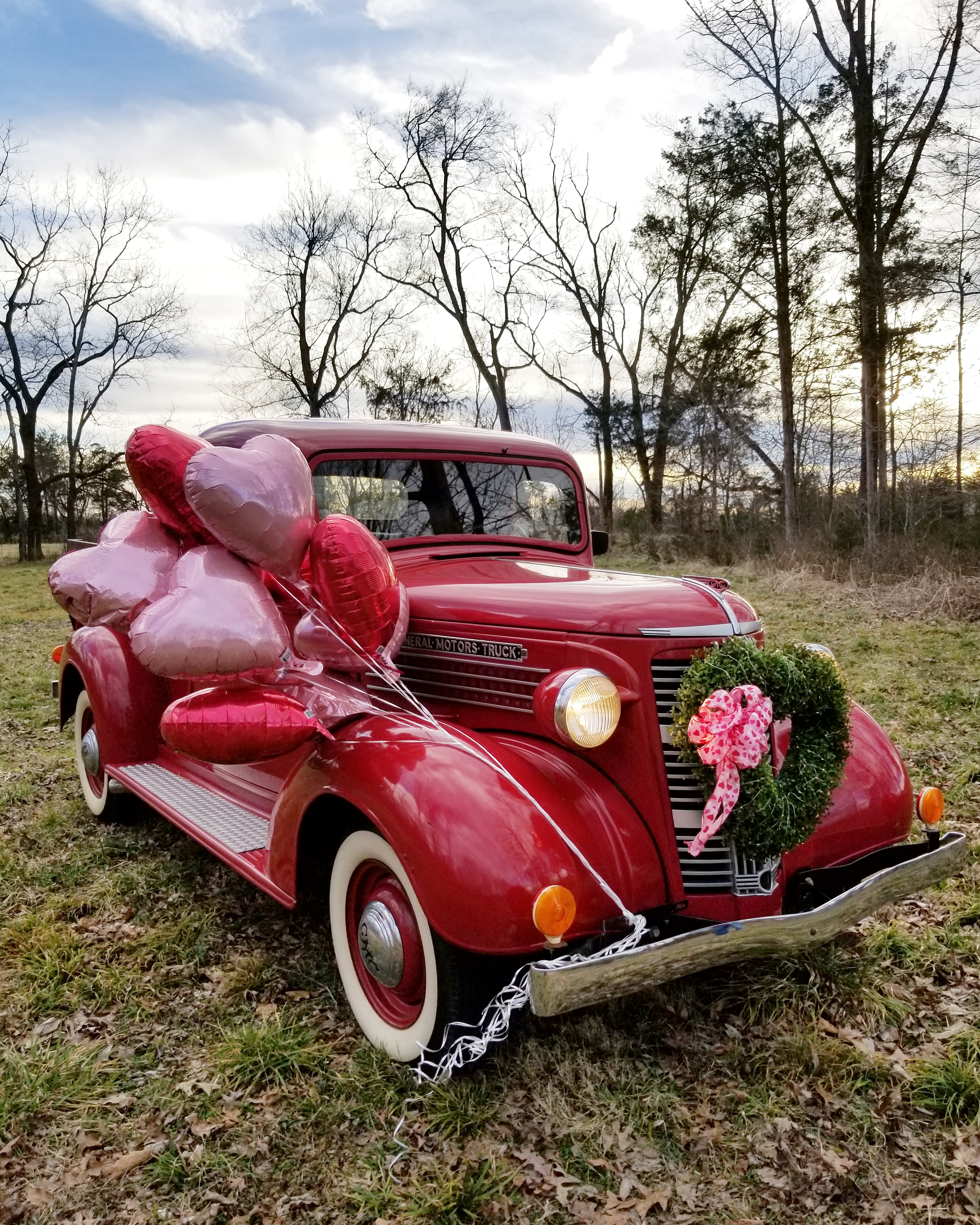 Vintage Red Truck and Valentine Balloons